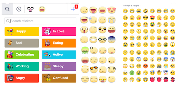 Sticker categories for comments offered by Facebook by default (left), Facebook's Meep Stickers (centre) and emoji's facial expressions (right)