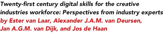 Twenty-first century digital skills for the creative industries workforce: Perspectives from industry experts by Ester van Laar, Alexander J.A.M. van Deursen, Jan A.G.M. van Dijk, and Jos de Haan