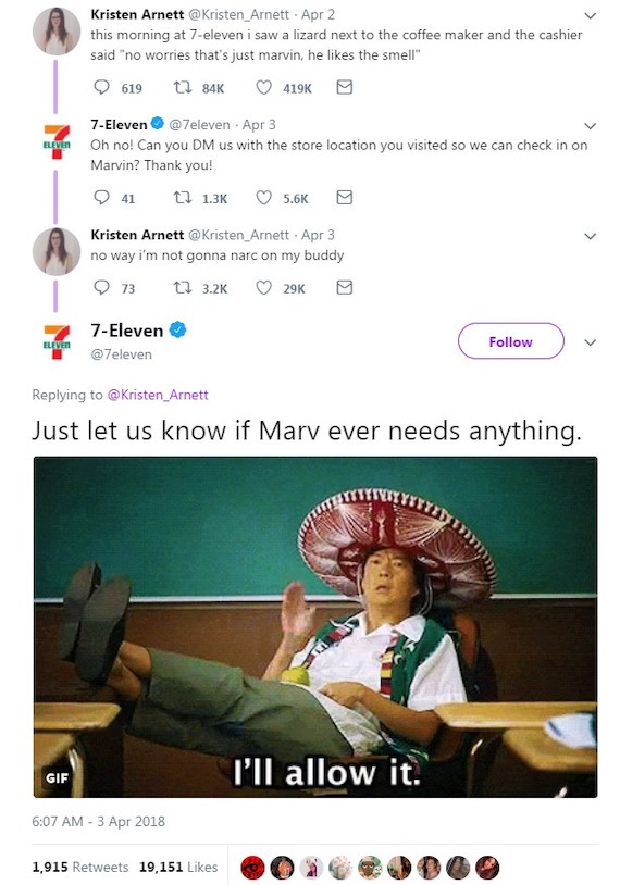 Twitter conversation about Marv the lizard between @Kristsen_Arnett and @7eleven, 2-3 April 2018