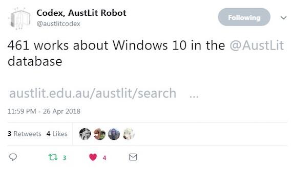 Tweet about Windows 10 from @AustLitCodex, 26 April 2018