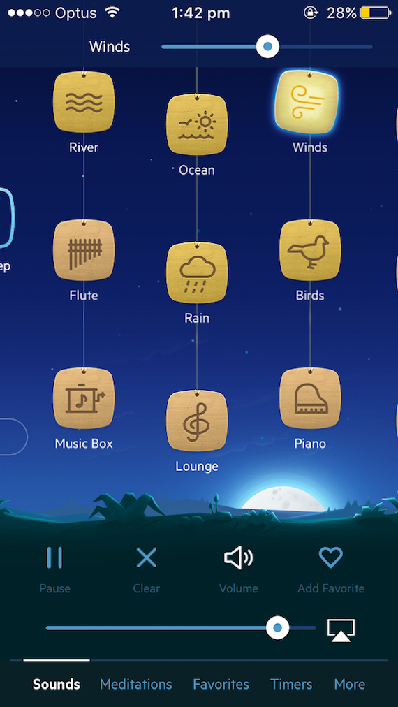 Screenshot of Relax Melodies customisable soundscape feature