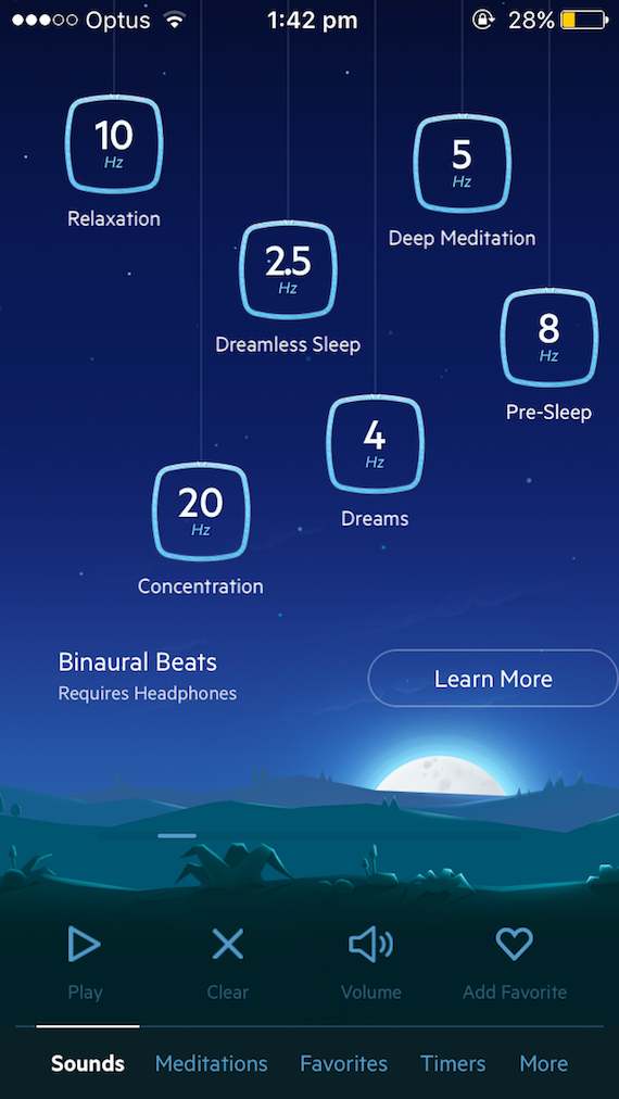 Screenshot of Relax Melodies binaural beats function