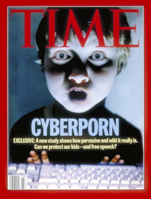 Cover of 3 July 1995 issue of Time on the theme of cyberporn