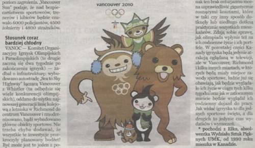 Gazeta Olsztynska front-page story on the Vancouver 2010 Olympics, featuring Pedobear