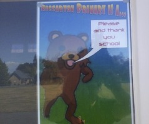 Pedobear poster at Riccarton Primary School, Christchurch, New Zealand