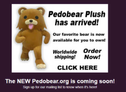 Screenshot of Pedobear Plush advertisement from Pedobear.org